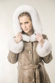 taupe womens fur coat made from nappa leather and natural polar fox fur