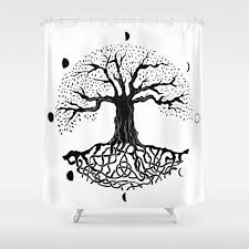 black and white tree of life with moon phases and celtic trinity knot ii shower curtain