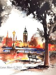 london at dusk watercolor painting london sunset travel ilration fine art print lana moes art wander ilration