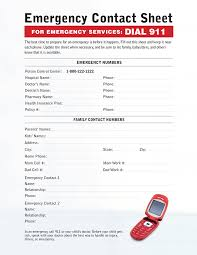 Emergency Contact Forms For Children Babysitting Emergency Contact Sheet