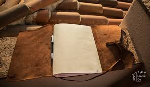 this is an open large leather sketchbook
