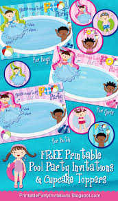 best images about frozen party elsa anna three printable pool party invitations plus cupcake toppers