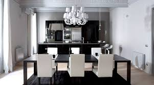 minimalis amusing black dining table with glory white dining chair ideas plus fetching white chandelier