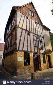 old timber frame building in the place doublet bergerac france