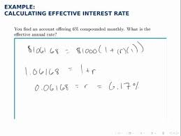 Finance Example Effective Interest Rate Apy Youtube