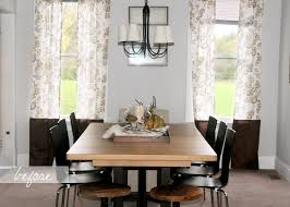 Incredible Modern Dining Room Decors With White Floral Chic Dining Room  Curtains Added Bronze Shade Chandelier Over Odern Dining Table Sets Ideas