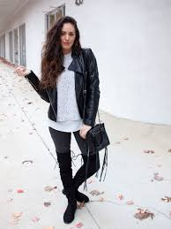 black over the knee boots flat faux leather jacket how to wear otk boots in the