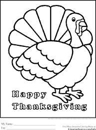 Happy Thanksgiving Coloring Pages Turkey Ginormasource Kids