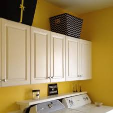 black yellow and white laundry room