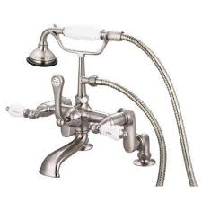 3 handle claw foot tub faucet with labeled