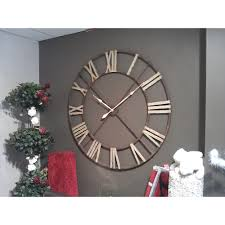 Very Large Wrought Iron Clock - Aged, On Wall.