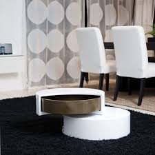 pretty small white gloss coffee table 41 round storage placed on black fur rug as well