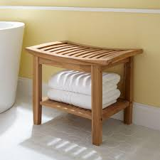 teak bathroom stools. The Elok Teak Shower Seat Adds A Convenient Place To Sit Anywhere You Need It. Stack Towels On Stool\u0027s Lower Shelf And Rest Comfortably Bathroom Stools Signature Hardware