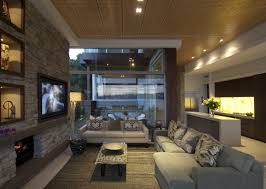 Cool Living Room Interior Ideas At Modern Waterfront House Design
