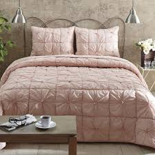 image of camille blush pink twin quilt set