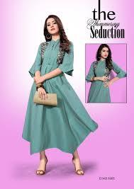 Designer Kurtis Collection Mirana Aarna Rayon Long Designer Gown Type Latest Kurtis