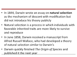 chapter historical roots of darwin s ideas a new era of 18 in 1844 darwin wrote an essay on natural selection