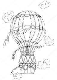 Zwart Wit Lucht Van De Ballon En Doodle Hart Zentangle Geïnspireerd