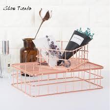 kitchen office desk. Metal Rose Gold Storage Basket Mesh Crate Vintage Kitchen Office Desk Organizer Bath Tools
