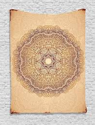 Henna Wall Designs Mandala Tapestry Authentic Mystical Meditative Inner Sign Henna Motif With Repeating Lines Wall Hanging For Living Room Dorm