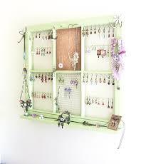 Wall Jewelry Organizer Upcycled Window Frame Green Window Jewelry Holder Jewelry