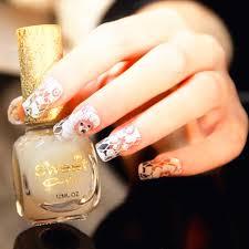 Retro Women Fashion Nail Stickers Adhesive Nails Wraps White Lace ...