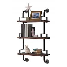 armen living 40 booker industrial pine wood floating wall shelf in gray and walnut finish