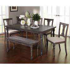 dining table set for 6 with bench 4 chairs farmhouse formal upholstered padded