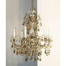 classic lighting via venteo roman bronze six light chandelier with strass golden teak crystal accents