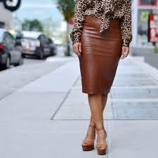 dresses skirts zara brown faux leather pencil skirt
