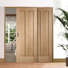 Easi-Slide OP3 Oak Novara 2 Panel Flush Sliding Door System in Four Size  Widths