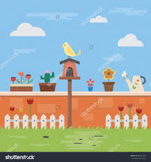 Small Picture Illustration Of Flat Design On The Wall And Garden Objects With
