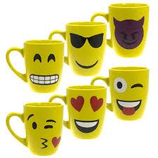 Smiley Face Coffee Mug 6pk Set Emoji Ceramic Mugs Set Unique Smiley Face Coffee 12oz Cups
