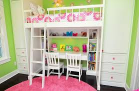 Bedroom Dazzling Space Saving Loft Bed Idea With Desk For Girls