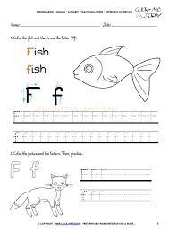 Kindergarten Alphabet Tracing Worksheets How To Write Letter F ...