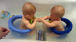 Maddie and Ollie in Safety1st Swivel bath seats for the first time ...