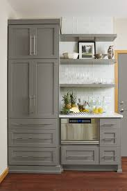 Brushed Nickel Floating Shelves Simple Gray Floating Shelves Transitional Kitchen Benjamin Moore