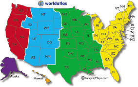 Current Dates And Times In U S States Map