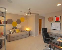office wall design. Home Office - Large Contemporary Freestanding Desk Carpeted Idea In Chicago With Gray Walls Wall Design