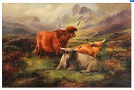 large scottish scene oil painting highland cattle john w morris beautiful c 1880 england from david wolfenden antiques the uk s premier antiques