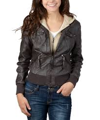 all gone brown cable knit hooded faux leather jacket