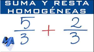 suma y resta de fracciones géneas denominadores iguales