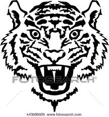 tiger face growling drawing. Interesting Drawing Clipart  Tiger Head Growling Fotosearch Search Clip Art Illustration  Murals Drawings For Face Growling Drawing I