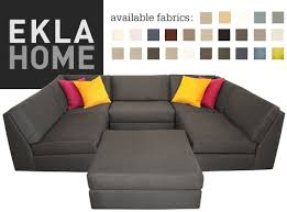 black u shaped sofa eklas home colorful choice game night couch chaise ikea uk orange red pillow sectional