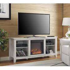 essential 58 inch fireplace tv console whitewash by walker edison walker edison