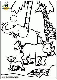 Kleurplatennl Wilde Dieren Olifant Giraf Neushoorn