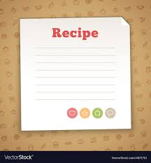 Recipe Blank Template Blank Recipe Card Template Royalty Free Vector Image