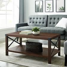 rustic dark walnut wood coffee table