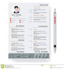 Vector Creative Minimalist Cv Resume Template With Two Pages Stock