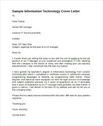 Gallery Of Sample Information Technology Cover Letter Template 8